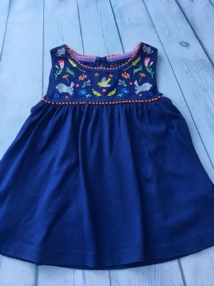 Mini Boden navy blue tunic with bunny embroidery detail age 2-3